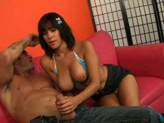 Sexy milf Sasha Sweet in bikini reaches for the cock of Billy Glide