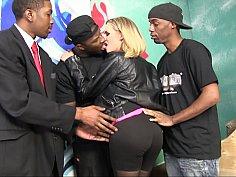 Blonde milf gets gangbanged by black dudes