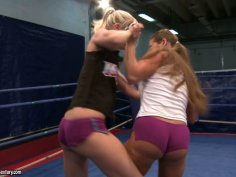 Feisty Angel Long and Cathy Heaven are fighting on a boxing ring
