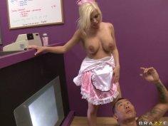 Slutty waitress Britney Amber fucks in a bar