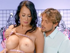 Reagan Foxx gets her big tits worshipped in the store