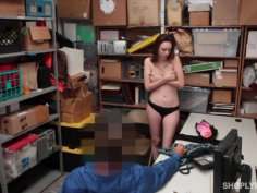 Shoplifting bitch caught by cop and receives mouth fuck punishment