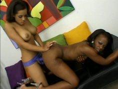 Sizzling nympho lesbians Jazmyne Sky and Alicia Tyler poke using strap on