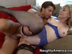 Busty momma Nina Hrtley enjoys pokes from behind